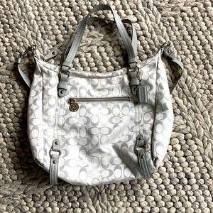 Coach gray/silver logo purse - beautiful condition